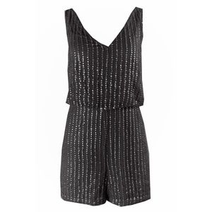 Adrianna Papell Black Sleeveless Sequined Romper 8